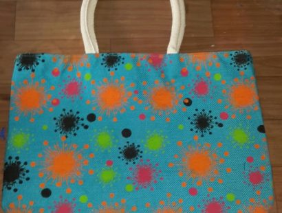 Shop with Cloth-blue bag splash orange blue