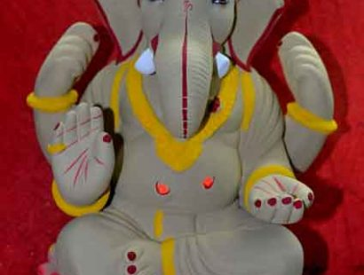 Eco friendly ganesh moorty made of Shahdu clay
