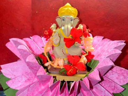 Eco friendly ganesh moorty and decorations