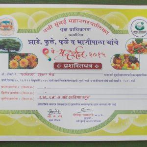 9th Navi Mumbai Mahanagarpalika Vrukshapradhikaran certificate-2015